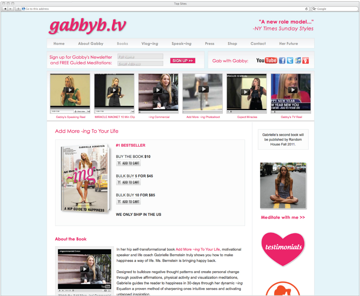 Emily French of Artz Collective designs and develops gabbyb.tv on wordpress and thesis