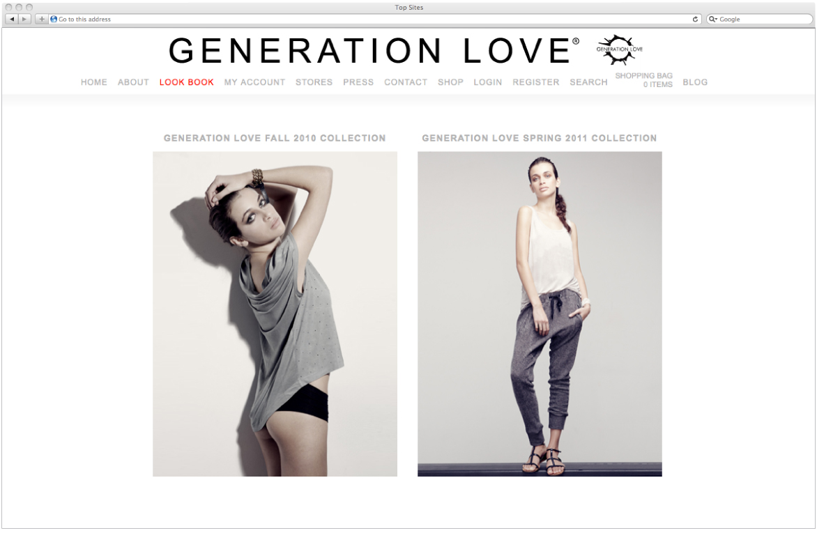 Emily French of Artz Collective develops a wordpress e-commerce site for Generation Love Clothing