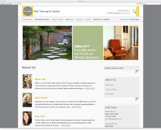 An interior page of The Gill Agency website designed by Emily Artz French of the Artz Collective