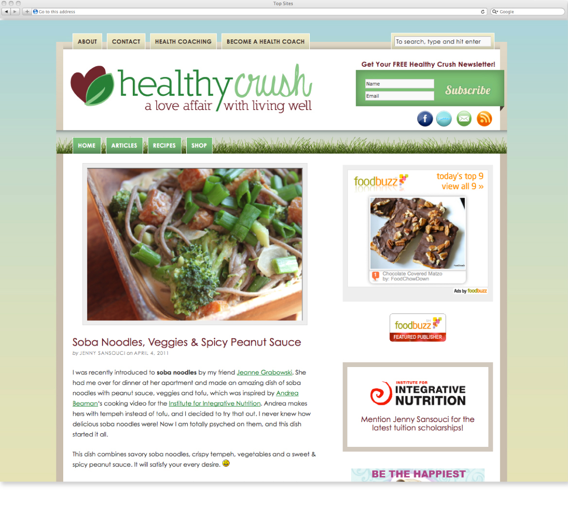 Artz Collective site design by Emily French for Healthy Crush