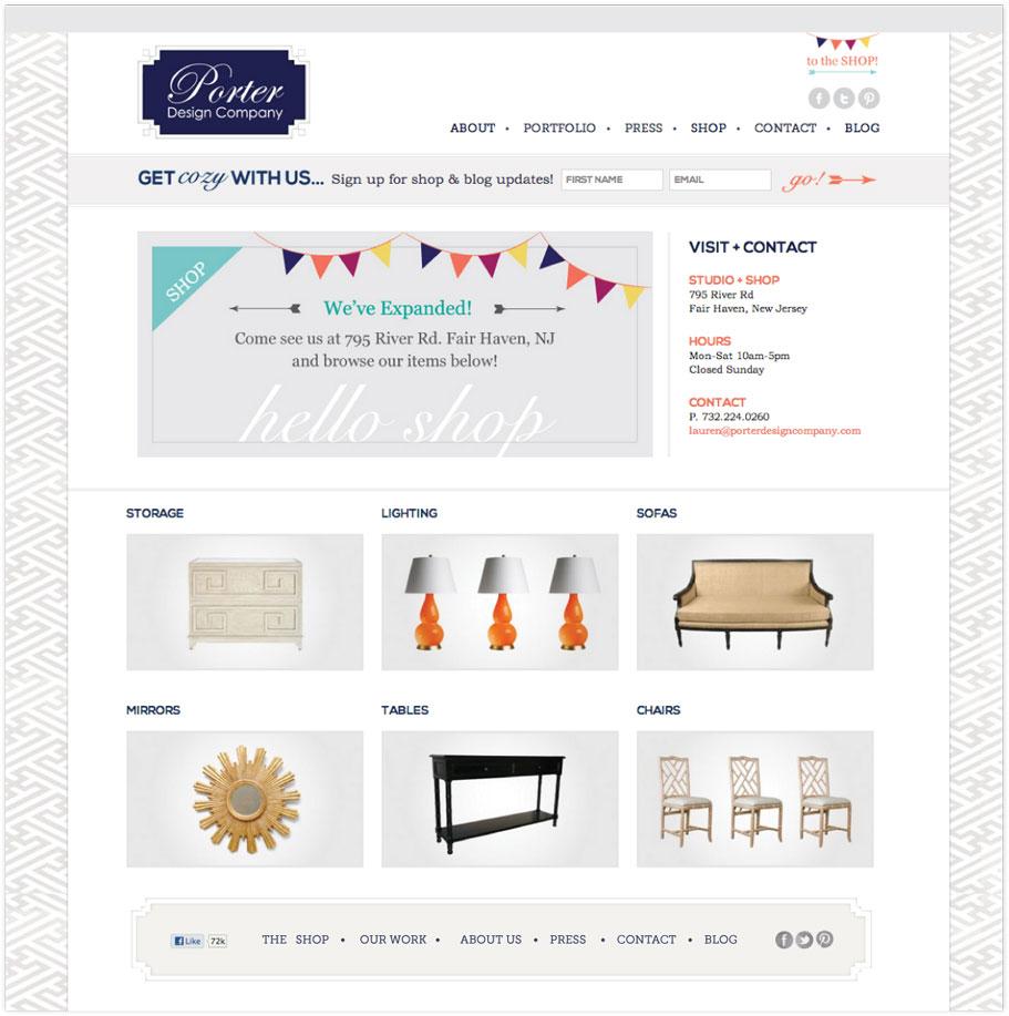 Porter Design Company Shop page