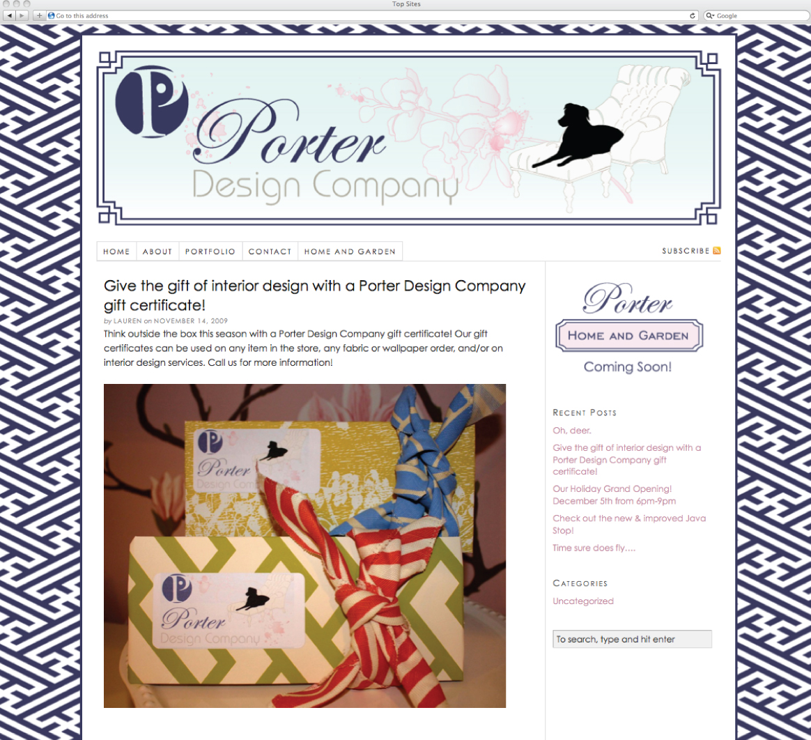 Emily French of Artz Collective designs and develops a website for Porter Design Company